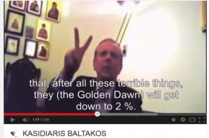 """Baltakos: """"Samaras will die Morgenröte auf zwei Prozent drücken."""" (Screenshot Ýoutube)"""