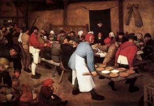 Wer zahlt fürdie europäische Bauernhochzeit ? Bruegel-Gemälde, 1567
