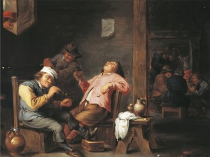 Man lighting his pipe, by Abraham Teniers (1629-1670)