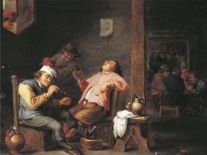 Man lighting his pipe, by Abraham Teniers (1629-1670)