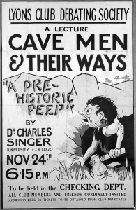 "L0017659 Poster of ""Cave men and their ways"", Singer lecture"